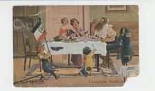 """GERMANY 1917 N""""AUF URLAUB"""" MILITARY CARD WITH SOLDIER HOME EATING, VR H/S+3 KOMP"""