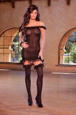 Black Chemise Set & Thigh High Stockings Size 8-10-12 Elegant Moments Lingerie