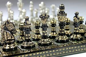 "12""Large Chess set for Adults Brass Metal Chess Board Piece Vintage contemporary"