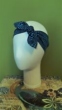 Headband Head Scarf Hair Wrap Bow Rockabilly Vintage Boho Retro Blue Psychedelic