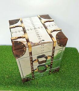 Bedside trunk chest aluminium aviator vintage home bar hotel furniture table