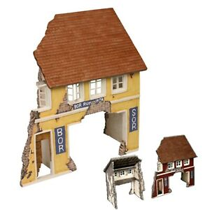 1:24 VSArmy 2 Story Ruined Building w/ Roof Diorama Accessory 5 Pc Magnetic Asy