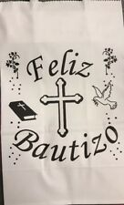 Feliz Bautizo Baptism Favor Centerpiece Kraft Bags, Qty 12