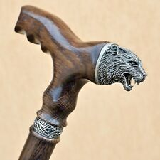 """Exclusive 36"""" WOLF Walking Cane Wooden Stick Custom Wooden Canes Sticks for Men"""