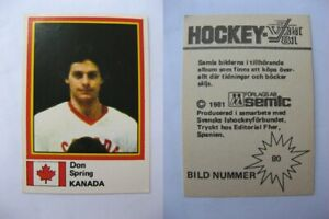 1980-81 Semic World Championship #80 Spring Don  sticker  canada RARE