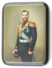 "Vintage Signed Russian Fedoskino Black Lacquer Hinged Box.""Nicholas Ii"""