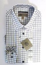 NEW JHANE BARNES Men's Long Sleeve Cotton SLIM FIT Dress Shirt White Plaid XL