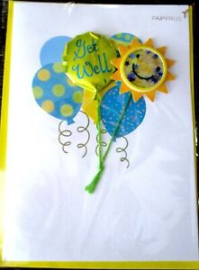 Papyrus 3D Mylar Balloons and Sunshine GET WELL SOON Greeting Card