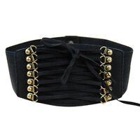 Womens Lady Stretch Buckle Waist Belt Bow Wide Leather Elastic Corset Waistband