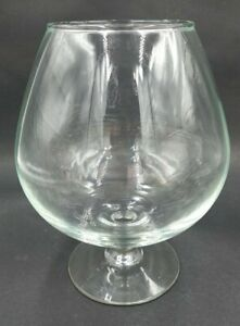 Clear Wine Brandy Snifter Shaped Large Bubble Bowl Glass Footed 6.5in tall