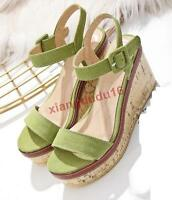 Womens Stylish Platform Wedge high heel Buckle Casual Sandals Pumps Shoes new #