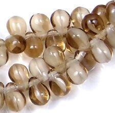 50 Czech Glass Teardrop Beads - Smoky Topaz/White