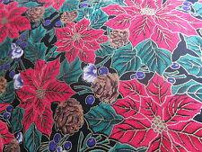 Poinsettia Christmas Cotton fabric BLACK metallic purple berry BTHY pinecones