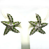 NATURAL CHROME GREEN DIOPSIDE STER EARRINGS 925 STERLING SILVER