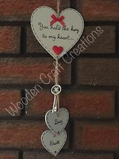 Personalised Wooden Heart Love Plaque Valentine's Day Key To Heart