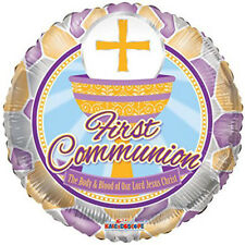 3 First Communion Theme Gold Cross and Cup Foil Balloon 18""