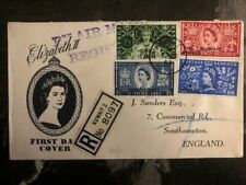 1953 Kuwait to England Queen Elizabeth II Coronation First Day cover FDC QE2