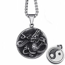 "Men's Chinese Dragon Yin Yang Tai-Chi Stainless Steel Pendant 22"" Necklace Set"