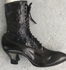 Vintage Antique Victorian Era Women's Lace Up Black Leather Granny Witchy Boots