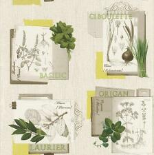 White and Green Gardening Wallpaper Horticulture Design for Kitchen 307405