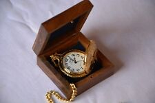 Battery Powered Hand Made Golden Stylist London Pocket Watch With Wooden Box