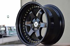 18X9.5 18X10.5 +20 GLOSS BLACK TE37 5X114.3 WHEELS FIT STAGGERED STANCE Nissan