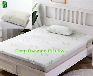"Quality 2"" Memory Foam Bed Mattress Topper & Pillow with Bamboo Cover Soft Thick"