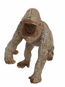 "Gorilla Ape Toy Plastic Animal Wildlife Pretend Play Zoo Brown Walking Pose 4"""