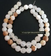 White ONYX 8mm round beads brown rust matrix 15inch strand 50 beads SB012