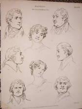 1816 ENGRAVING ART DRAWING PAINTING HUMAN FACE EXAMPLES