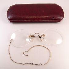 Hard Bridge Pince Nez Antique Eyeglasses Yellow 10 K Gold Original Case Chain