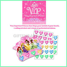 DISNEY VIP PRINCESS TIARA BINGO PARTY GAME Birthday Party Activity Pack 8 Girls