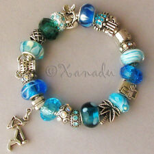 Turquoise, Teal, Blue Tahitian Beach Vacation European Charm Bracelet