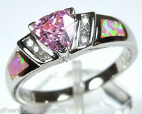 Trillion Pink Topaz & Pink Fire Opal Inlay 925 Sterling Silver Ring Size 6 - 9