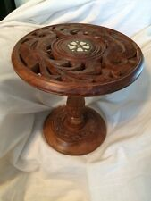 indian carved wood  folding  Plant Stand table with inlayed finish Cake Stand