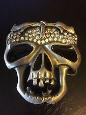 Skeleton Skull Belt Buckle Rhinestones Jagged Teeth See Though