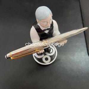 Luxury MB Meisterstuck Silver Ballpoint Pen with Gold Trim no pen box