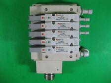 SMC Manifold 5-Ports with (2x) SV2200-5FU and (3x) SV2100-5FU -- Used --