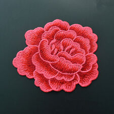 Embroidery Red Rose Flower Sew On Patch Badge Floral Collar Bust Dress Applique