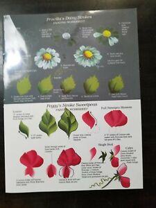 Flowers Floral FolkArt One Stroke Reusable Painting Worksheet Teaching Guide