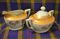 Vintage Roses Lusterware Edged Creamer & Sugar-Germany-NICE