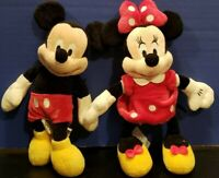 Disney Store Mickey and Minnie Mouse Lot Plush Doll W818-7201-5 14347 13229 9.5""