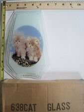 FREE US SHIP OK Touch Lamp Replacement Glass Panel Kitty Cat Kittens 638-CAT