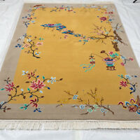 YILONG 4'x6' Handwoven Chinese Art Deco Wool Rug Yellow Living Room Carpet