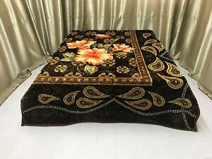 Korean Mink Blanket Queen Size 8 LBS Plush Warm Thick Super Soft Paisley Brown