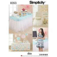 SIMPLICITY SEWING PATTERN PARTY TABLE CHAIR COVERS BANNER APRON POM POM  8353