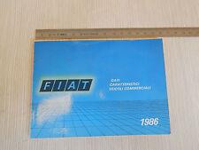 MANUALE DATI ORIGINALE 1986 FIAT VEICOLI COMMERCIALI DUCATO MAXI FIORINO 900E