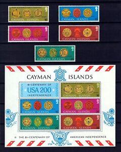 CAYMAN IS - 1976 - U S BICENTENNIAL - SEALS - LIBERTY BELL + MINT MNH SET + S/S!