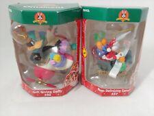 (2) Trevco Looney Tunes Christmas Ornaments Bugs Bunny Daffy