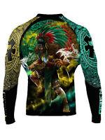 Raven Fightwear Men's Tezcatlipoca Aztec Rash Guard MMA BJJ Black